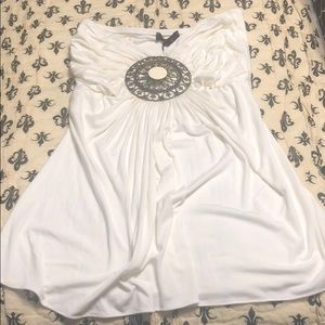 Sky strapless top with medallion NWT